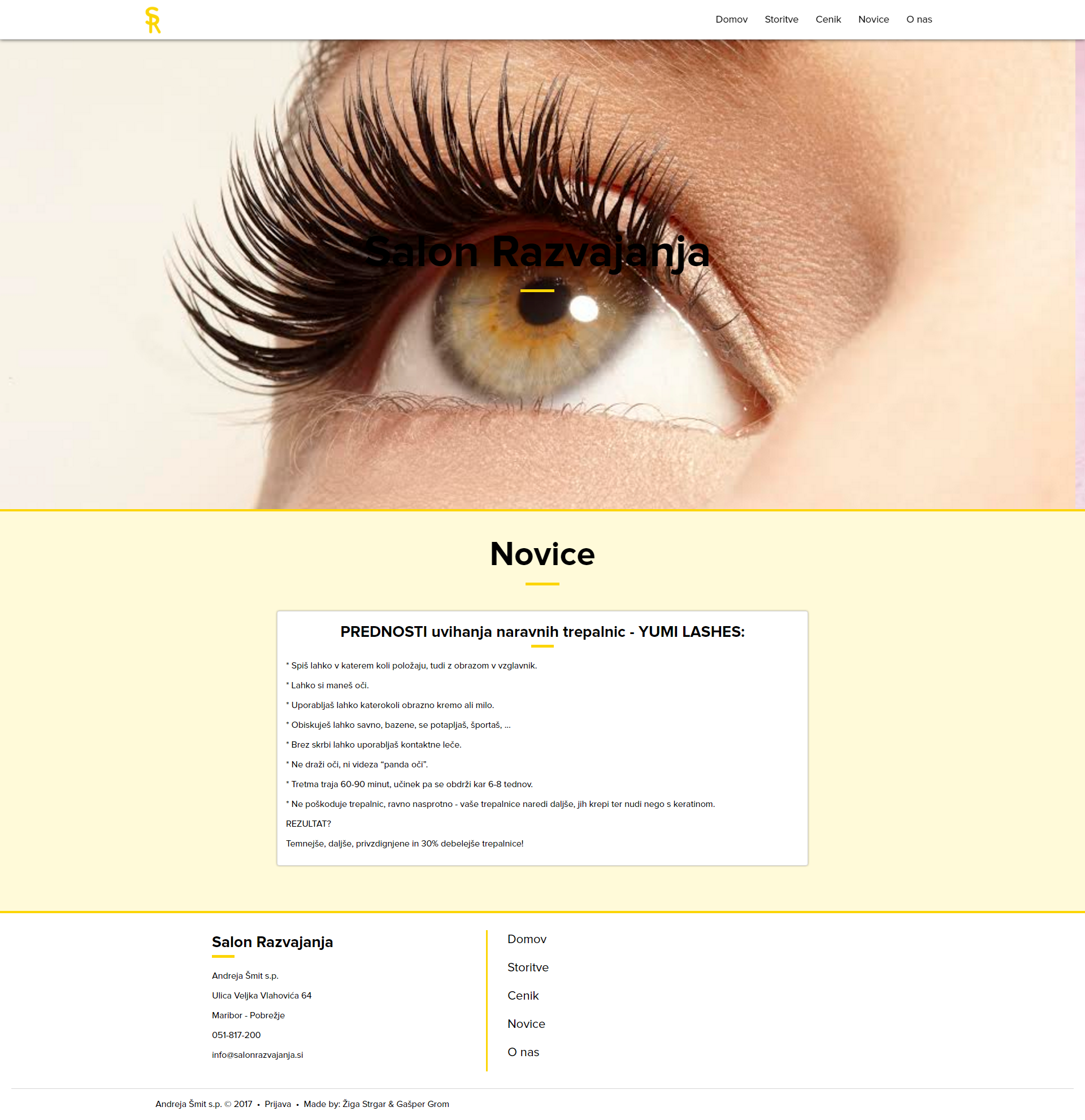 Beauty salon web page
